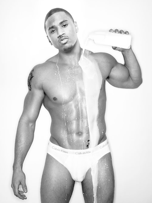 Trey Songz underwear pouring milk